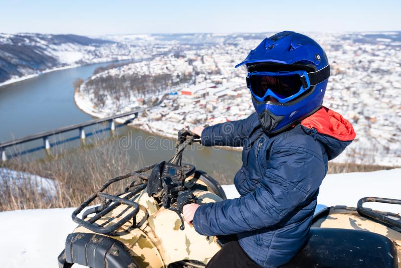 Travel in the winter on the ATV. Beautiful winter nature royalty free stock images