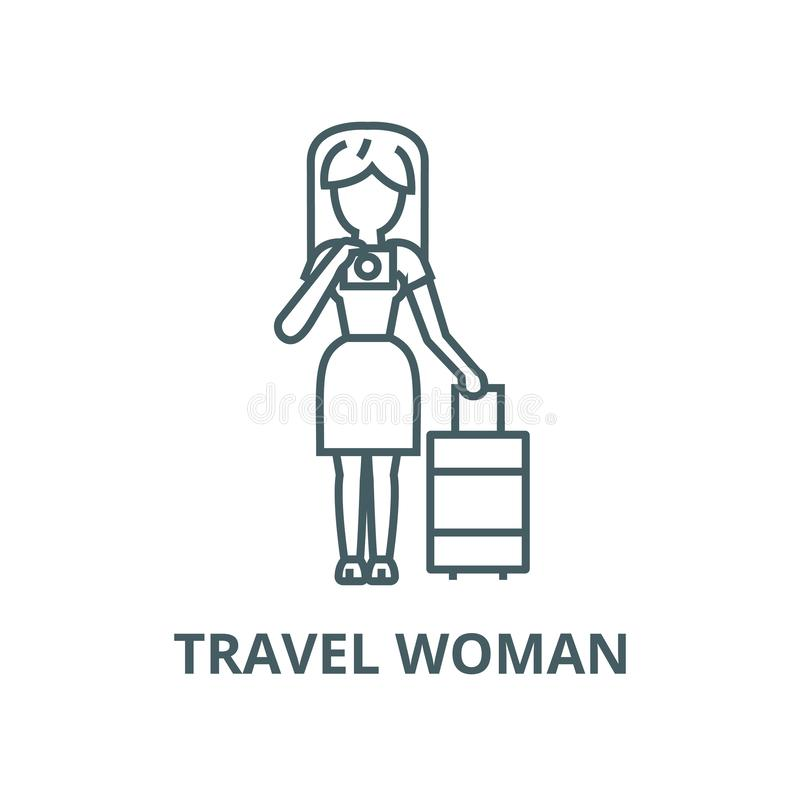 Travel woman making photo vector line icon, linear concept, outline sign, symbol royalty free illustration