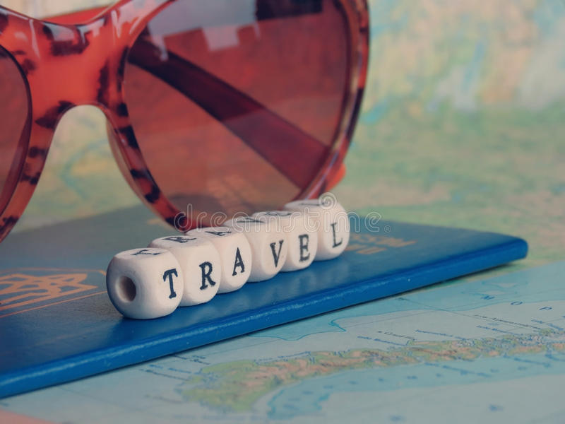 Travel Word of the beads. On the map stock photography