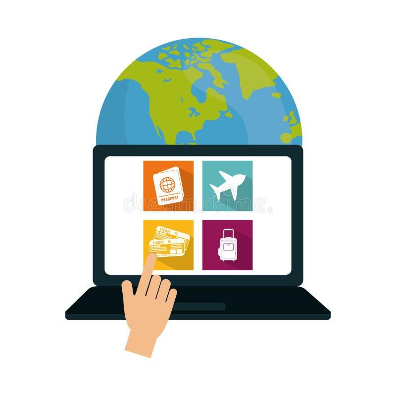 travel world around laptop media app vector illustration