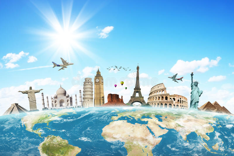Travel the world clouds concept. Made with photoshop cs5 stock illustration