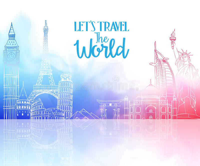 Travel The World Hand Drawing with Famous Landmarks stock illustration