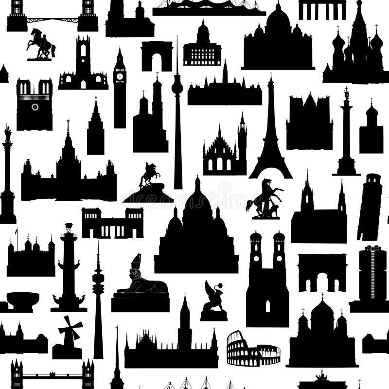 Travel world landmarks tile pattern. Travel sight icon set. Travel world landmarks seamless pattern. Travel sight icon tile background royalty free illustration
