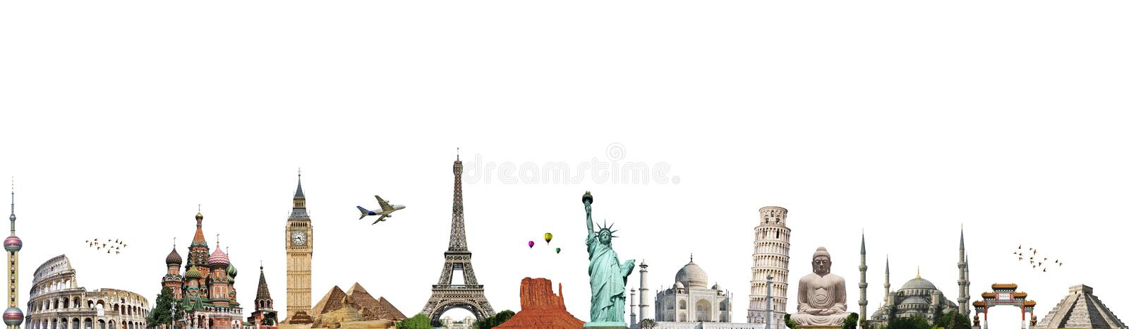 Travel the world monument concept. Famous monuments of the world illustrating the travel and holidays