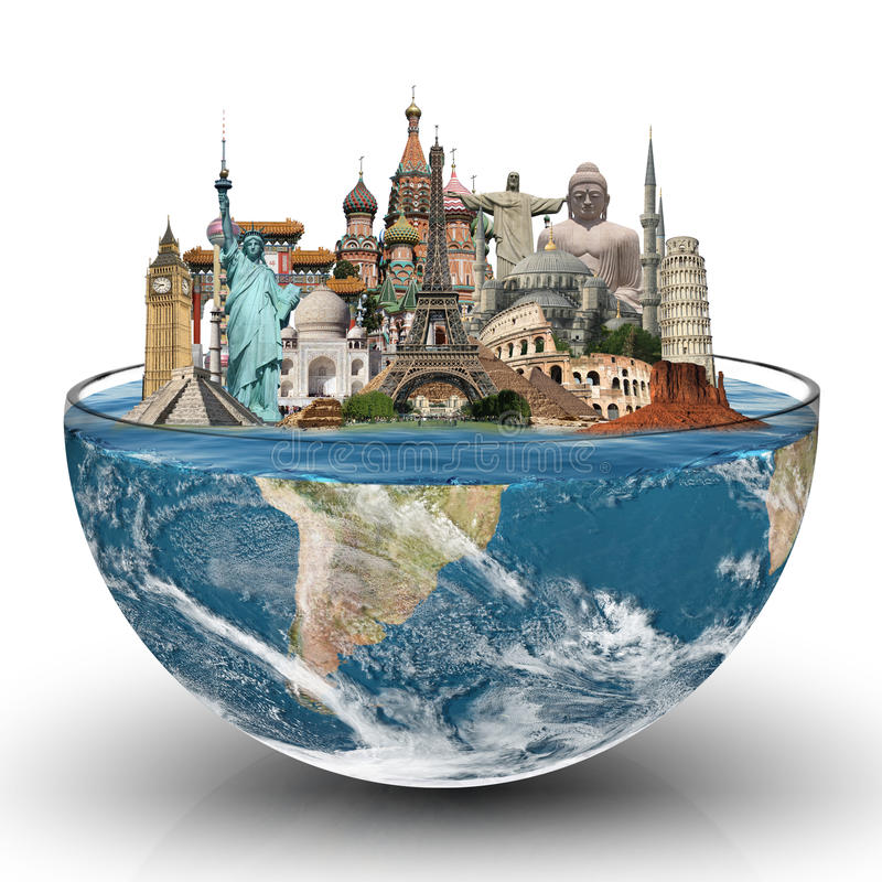 Travel the world monuments concept. Famous monuments of the world in a glass
