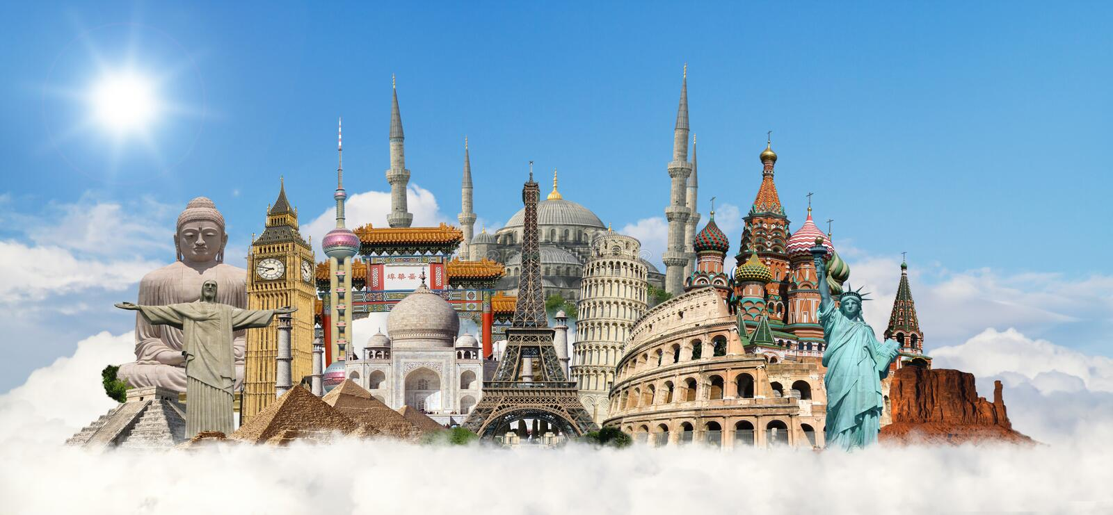 Travel the world monuments concept royalty free illustration