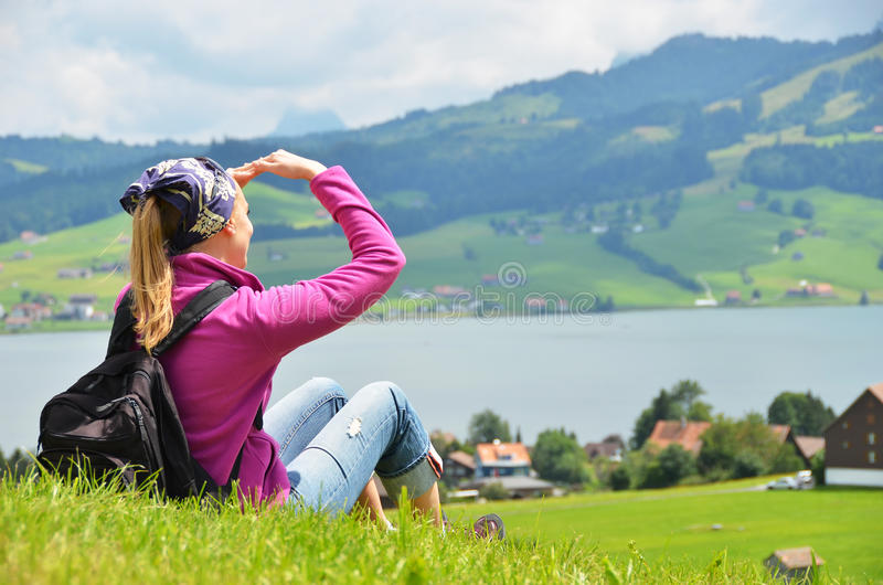 Download Traveler with a backpack stock photo. Image of high, activity - 25815066