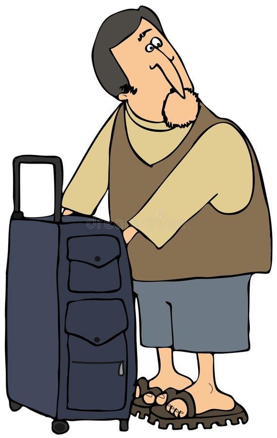 Download Traveler Checking His Bag stock illustration. Image of luggage - 8393782