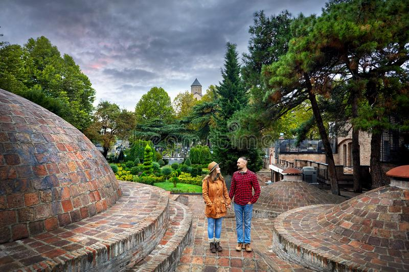 Traveler couple in old Tbilisi royalty free stock image