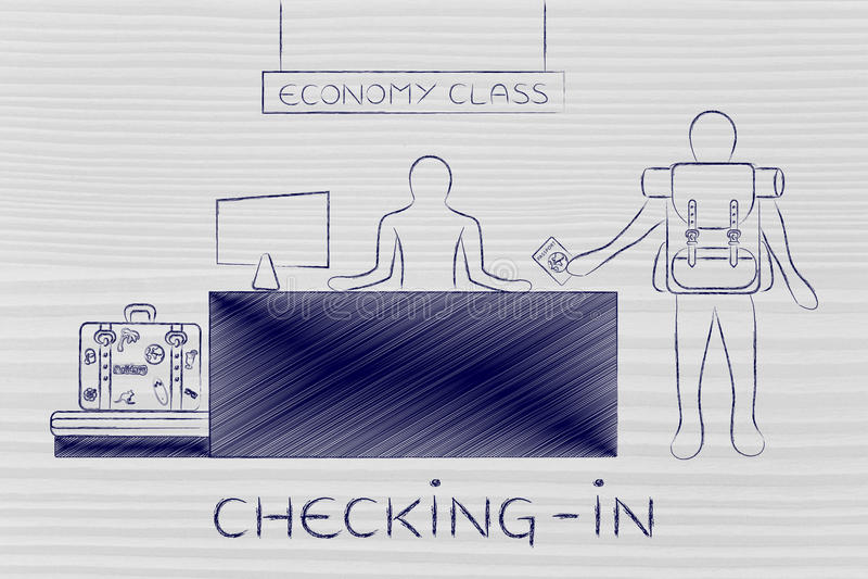 Traveler at economy class bag drop desk, caption checking-in. Checking-in: traveler at economy class airport bag drop showing passport royalty free stock photography