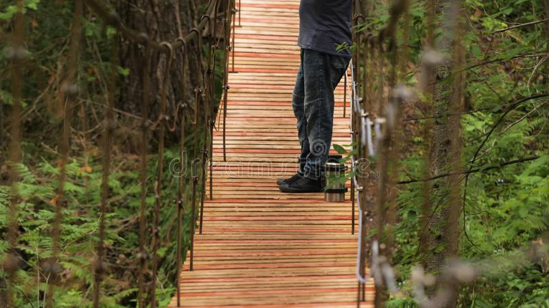 Traveler enjoys views while standing on suspension bridge. Stock footage. Man stopped on wooden bridge to admire beauty stock images