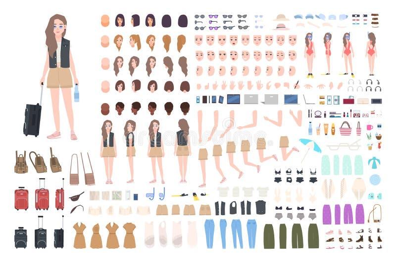 Traveler girl constructor or DIY kit. Bundle of female tourist body parts, postures, clothing, touristic equipment stock illustration