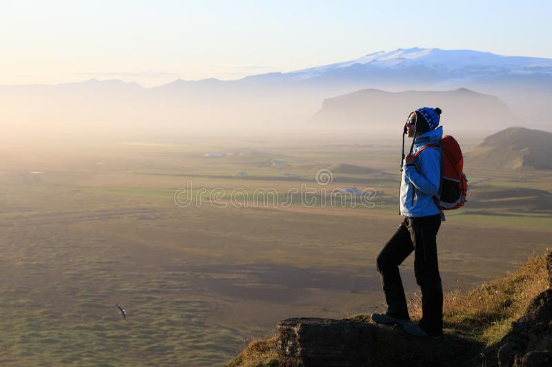 Traveler or hiker in the mountains royalty free stock images