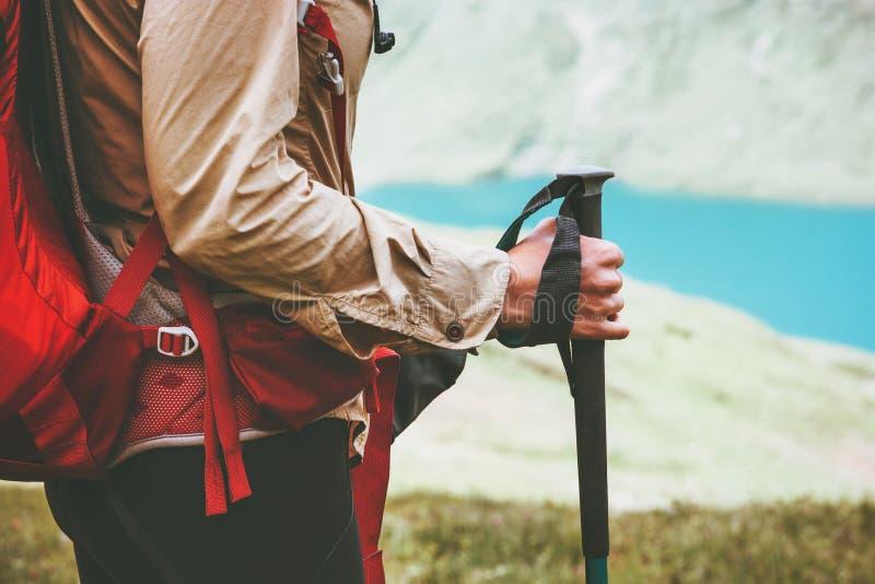 Traveler hiking at blue lake royalty free stock photo