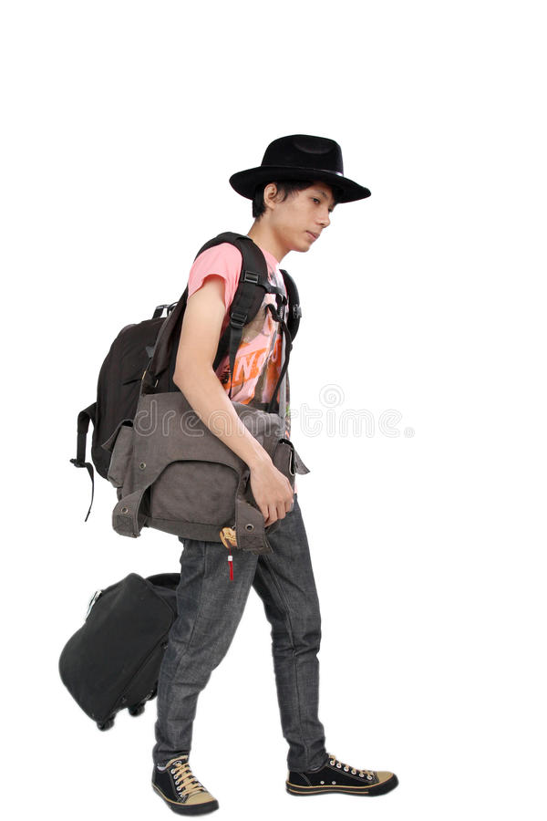 Traveler and his bags royalty free stock image