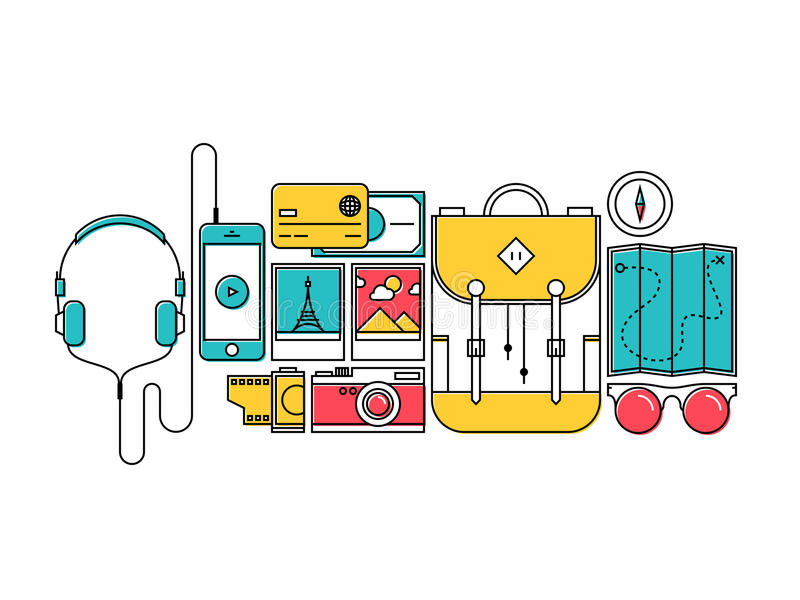 Traveler items for city trip flat line concept royalty free illustration