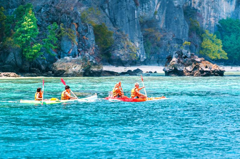 Traveler kayaking in the sea in Phi Phi region, Thailand. travel concept. royalty free stock photo