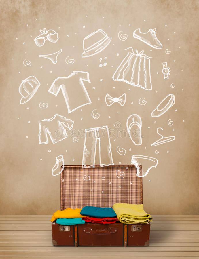 Download Traveler Luggage With Hand Drawn Clothes And Icons Stock Photo - Image: 38036012