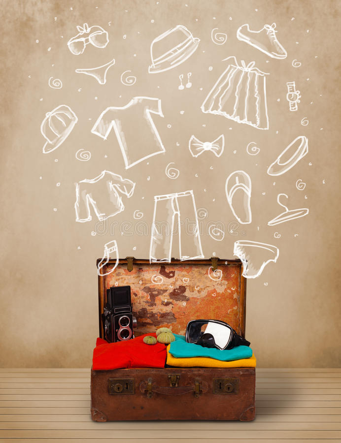 Download Traveler Luggage With Hand Drawn Clothes And Icons Stock Illustration - Image: 38041771