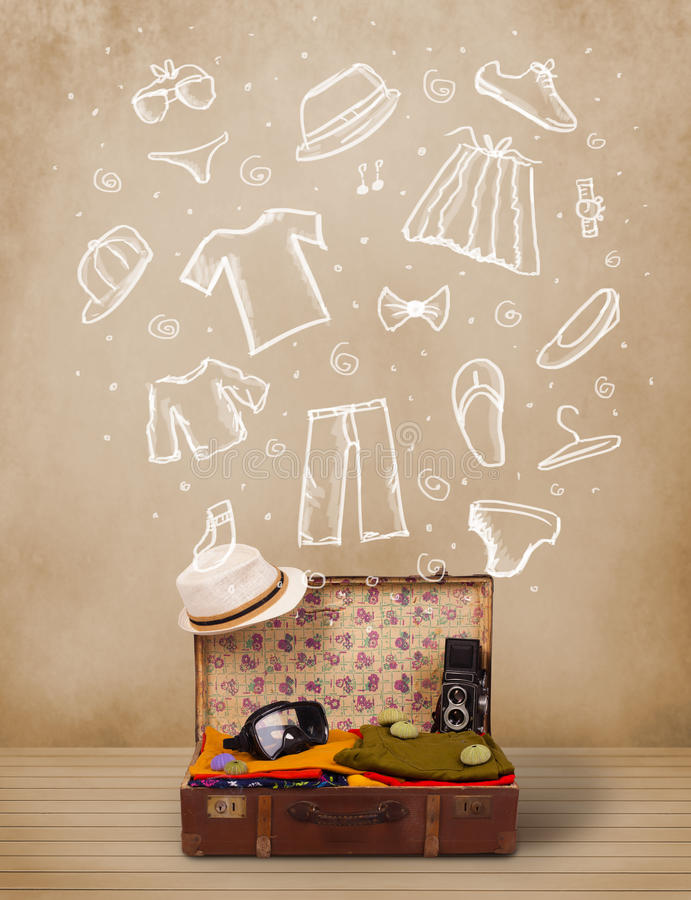Download Traveler Luggage With Hand Drawn Clothes And Icons Stock Image - Image: 34004537