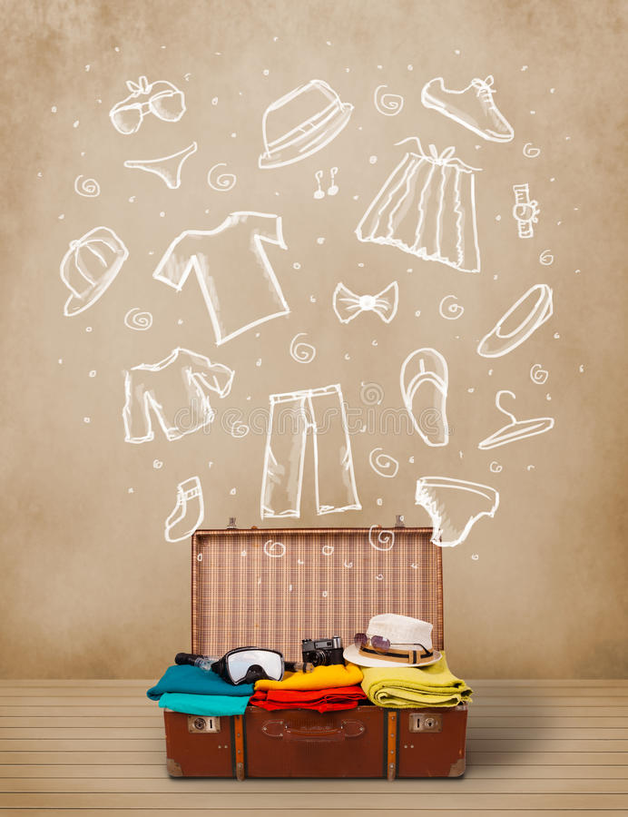 Download Traveler Luggage With Hand Drawn Clothes And Icons Stock Illustration - Image: 35193417