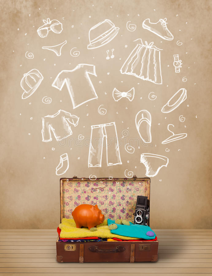 Download Traveler Luggage With Hand Drawn Clothes And Icons Stock Images - Image: 38547494