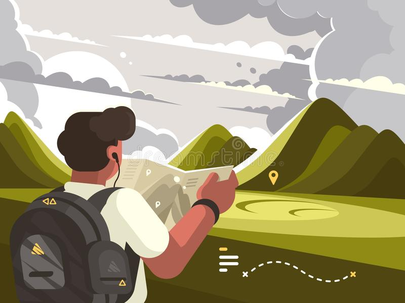 Traveler with map planning route to mountains vector illustration