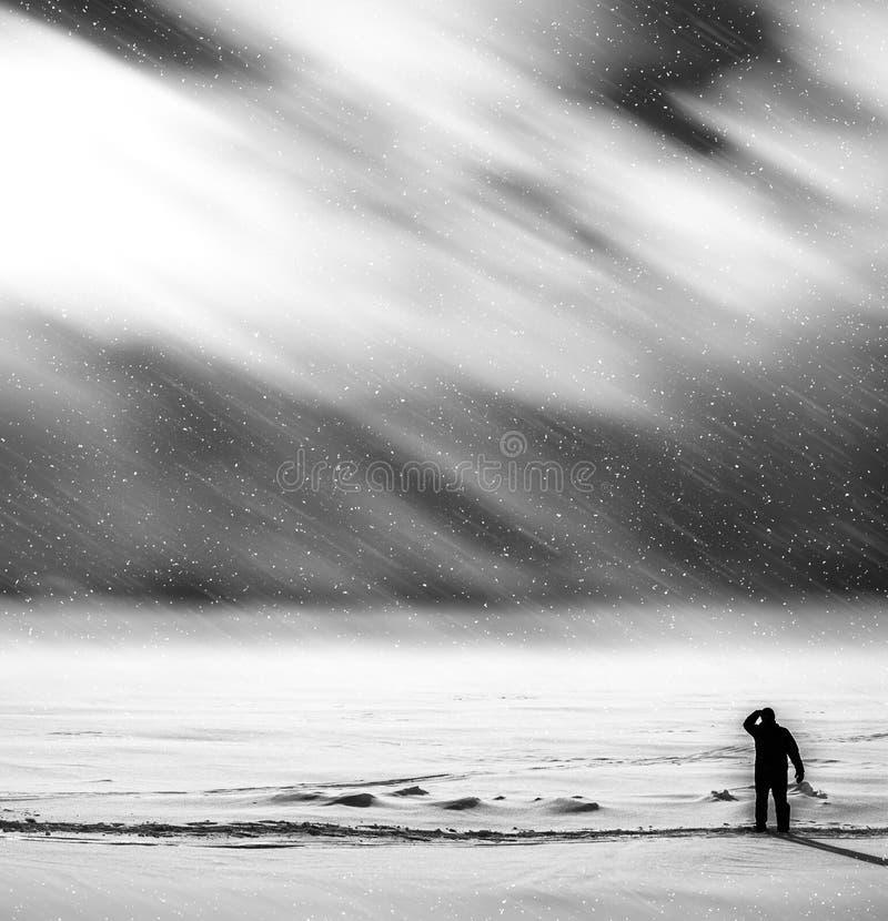 Traveler meeting dramatic snow storm backdrop vector illustration
