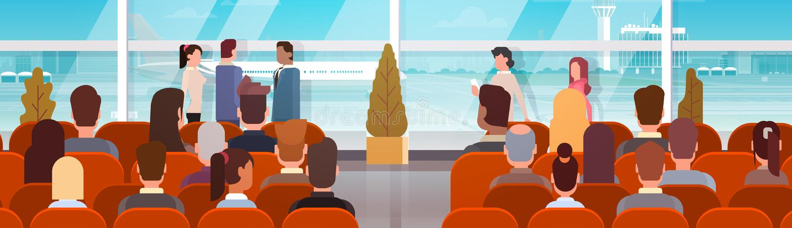 Traveler People in Airport Hall Departure Terminal Travel, Passenger Sitting in Waiting Room. Flat Vector Illustration vector illustration