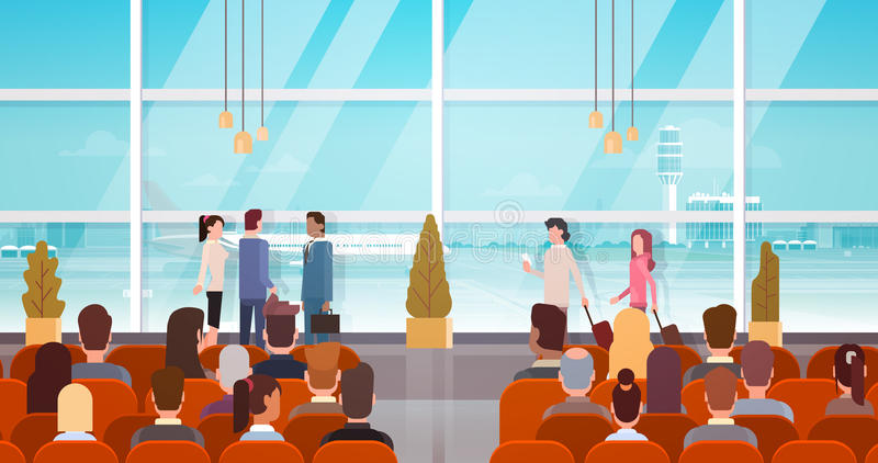 Traveler People in Airport Hall Departure Terminal Travel, Passenger Sitting in Waiting Room. Flat Vector Illustration stock illustration