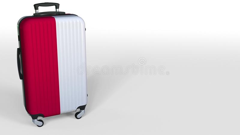 Traveler`s suitcase featuring flag of Poland. Polish tourism conceptual 3D rendering, blank space for caption stock image