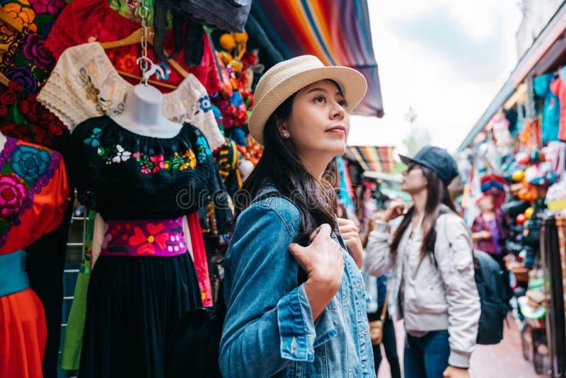Traveler shopping in the traditional market stock photos
