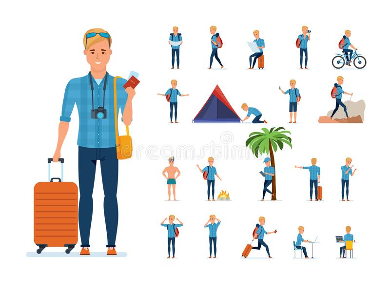 Traveler in situations: gathering, searching for route, bathing, rest, hiking. Set of young traveler man. Adventure travel. Summer vacation. Traveler man in stock illustration