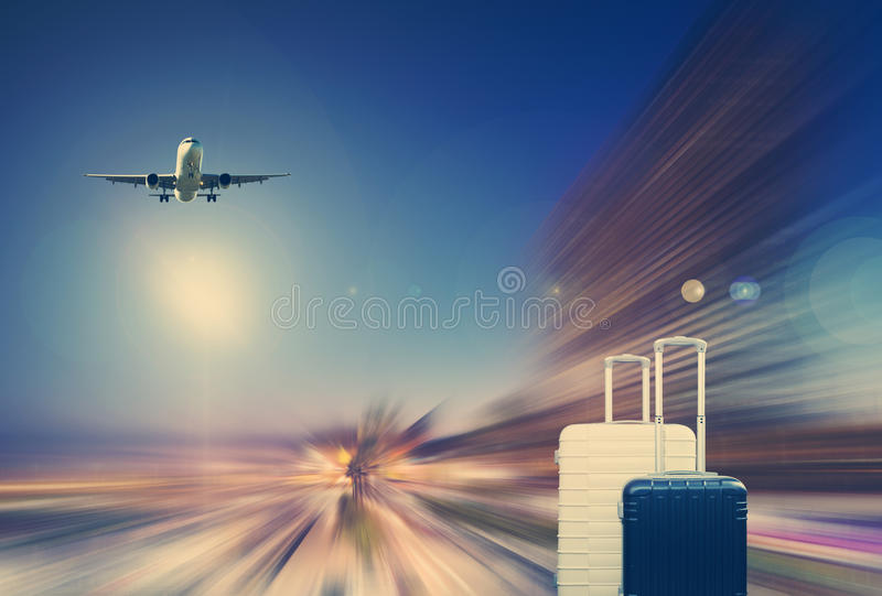 Traveler suitcases and airplane. Image of traveler suitcases and airplane on background motion blur royalty free illustration