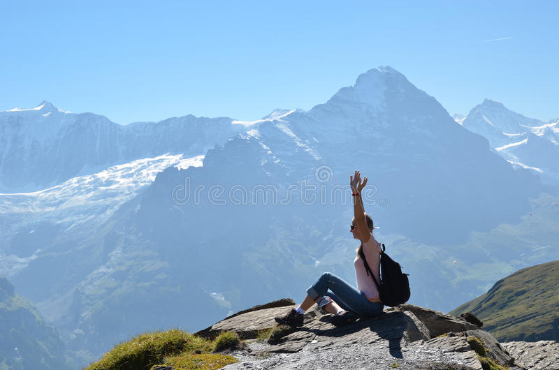 Download Traveler On The Top Of A Rock Stock Images - Image: 29073984