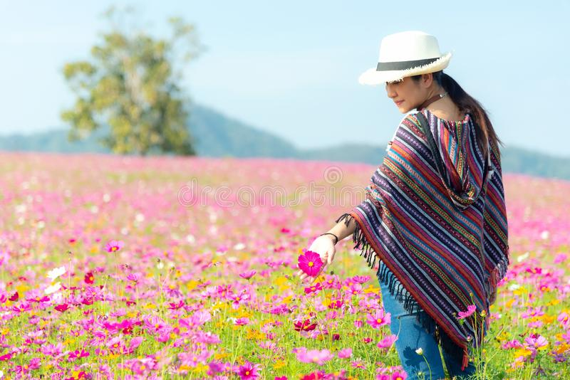 Traveler or tourism asian women walking in the flower field and hand touch cosmos flower.  People freedom and relax in the flower stock images