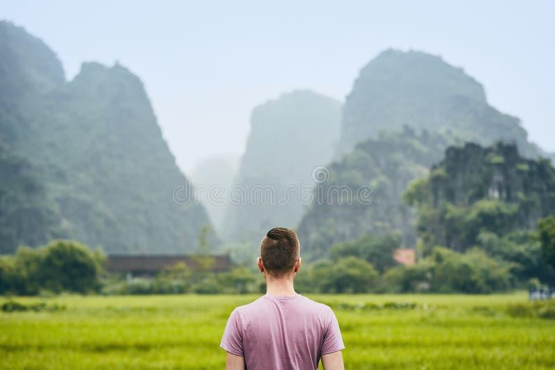 Traveler in Vietnam stock images