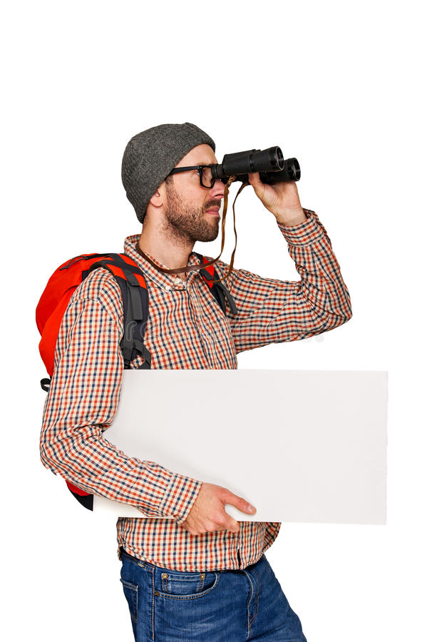 Traveler with white banner isolated. stock photos