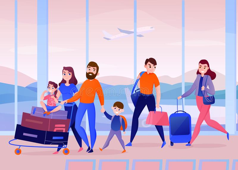 Travelers Airport Illustration. Travelers with luggage inside air port building on background of window with flying plane vector illustration royalty free illustration