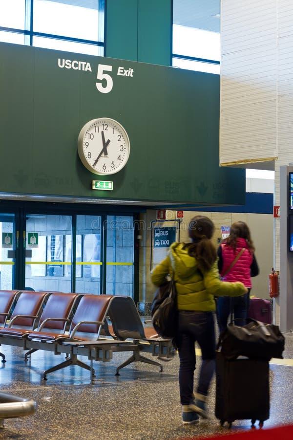 Travelers in airport stock photo