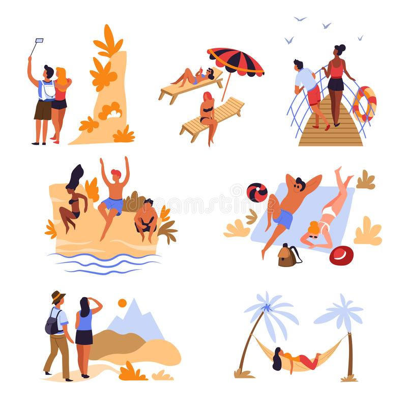 Travelers beach mountains and sea voyage vacation and holidays. Beach mountains and sea voyage vacation travelers and holidays vector couple taking selfie girls royalty free illustration