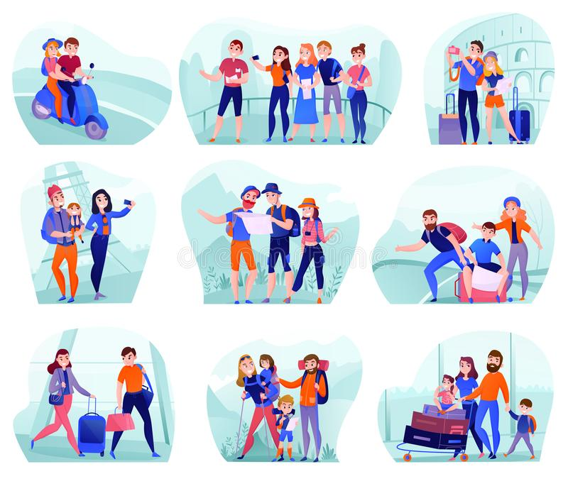 Travelers Compositions Set. Set of compositions with travelers in various activity with luggage and tourist equipment isolated vector illustration stock illustration