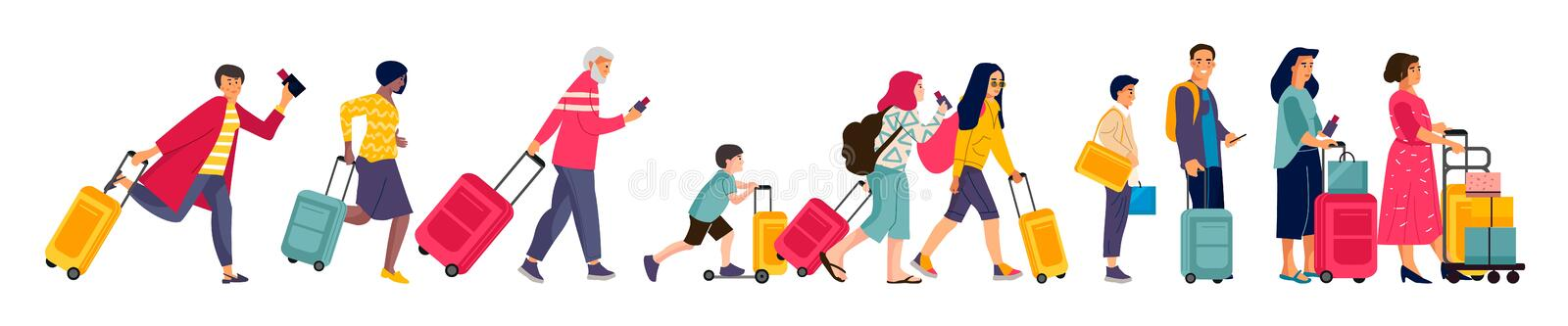 Travelers group. Tourists in line baggage and suitcases, men women and children in airport queue. Vector illustration flat colorful image hurrying happy people royalty free illustration