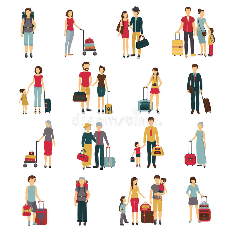 Travelers With Luggage Flat Icons Collection stock illustration