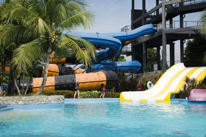 Download Travelers People Playing Big Slide Water And Swimming In Pool Editorial Stock Photo