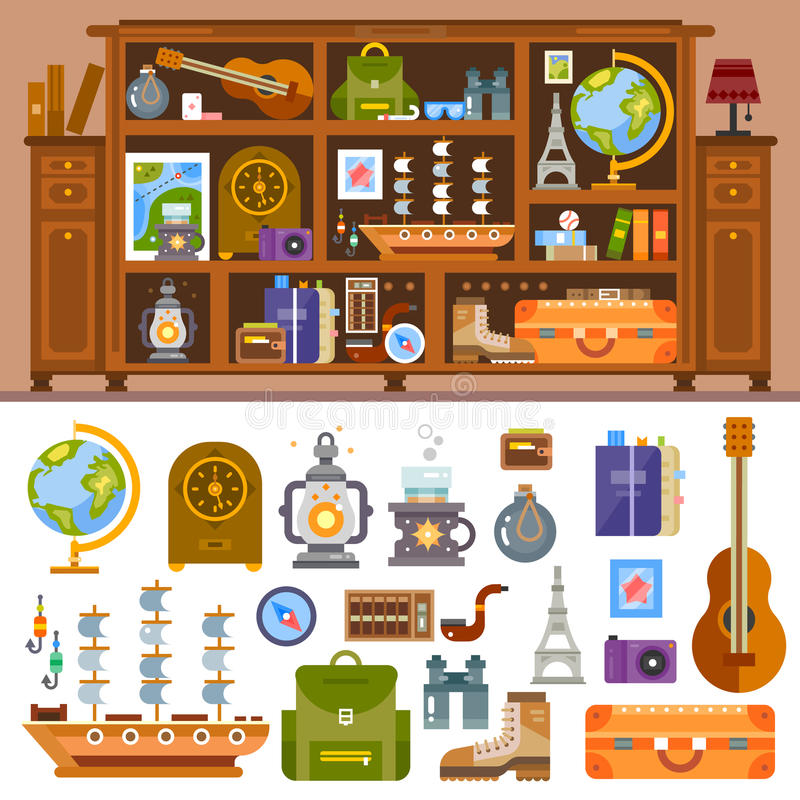 Travelers's cupboard with books and souvenir. S from trips. Camera, photo, globe, statuettes, shells, guitar, lamp, compass, suitcase. Vector flat illustrations vector illustration