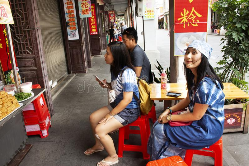 Travelers thai people waiting Chinese people cooking order Fried Tofu with vegetables and sweet sauce at restaurant in Chaozhou. Or Teochew on May 8, 2018 in stock photos