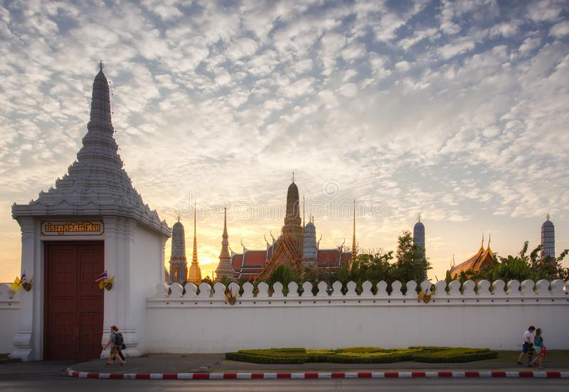 Travelers at Wat Phra Kaew and The Grand Palace Thailand stock image