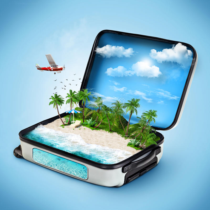 Traveling. Open suitcase with a tropical island inside. Traveling
