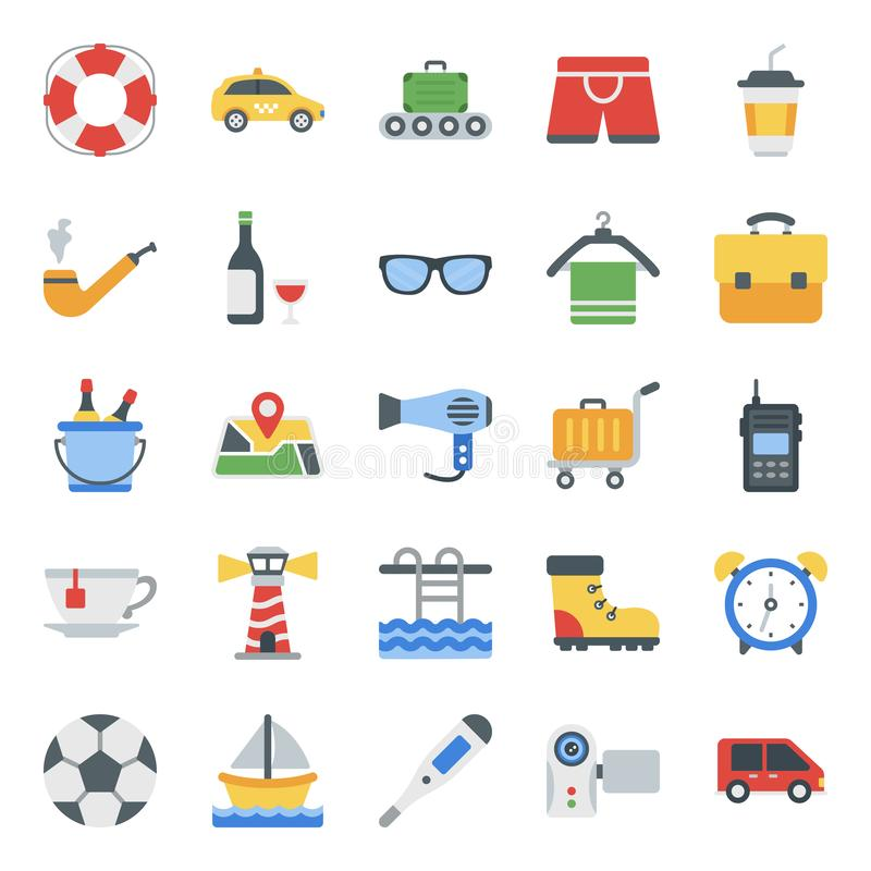 Traveling Accessories Flat Icons Pack royalty free stock image